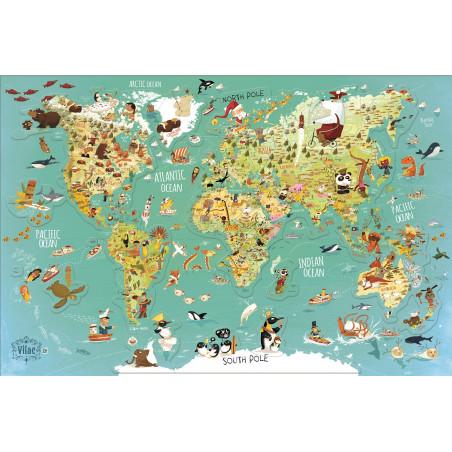 Vilac nástěnná magnetická mapa světa 78 dílků anglické texty