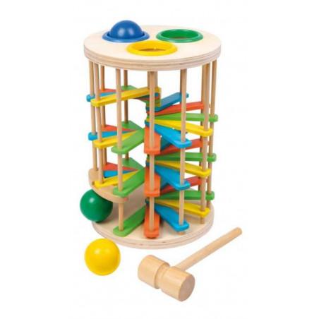 Dřevěné hračky - Zatloukačka věž s kuličkami velká