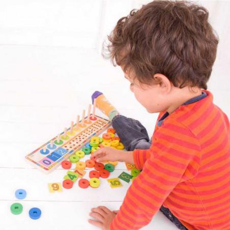 Bigjigs Dřevěná motorická a naučná hra - Deska nasazování s čísly