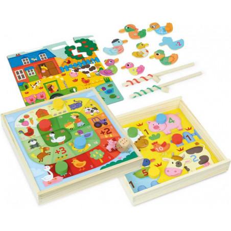Vilac dřevěný set zábavných her se zvířátky 4v1