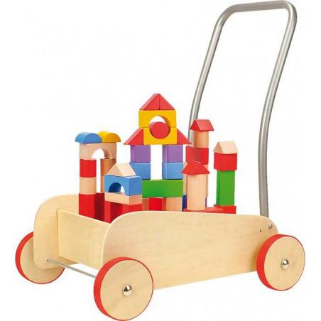 Dřevěné hračky - Chodítko dřevěné kostky ve vozíku