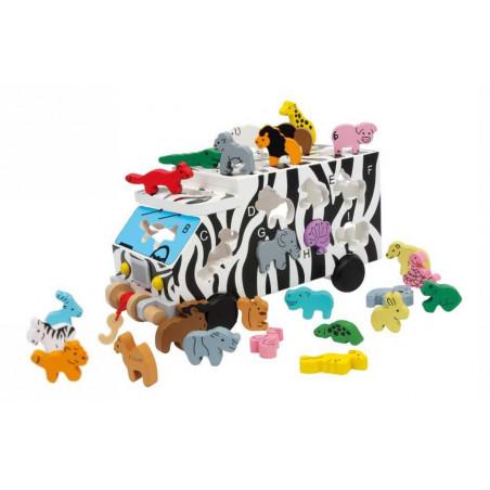 Dřevěné hračky - Dřevěný ABC autobus se zvířaty