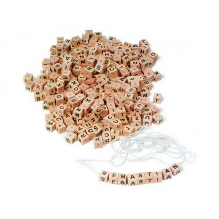 Dřevěné navlékací korálky - Písmenkové kostky