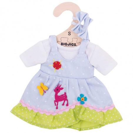 Bigjigs Toys modré puntíkované šaty s jelenem pro panenku 28 cm