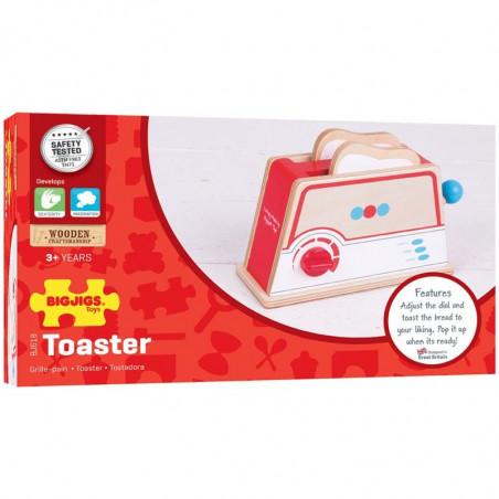 Bigjigs Toys Dřevěný toaster s puntíky