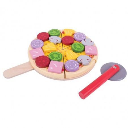 Bigjigs Toys dřevěná krájecí pizza se zlomky