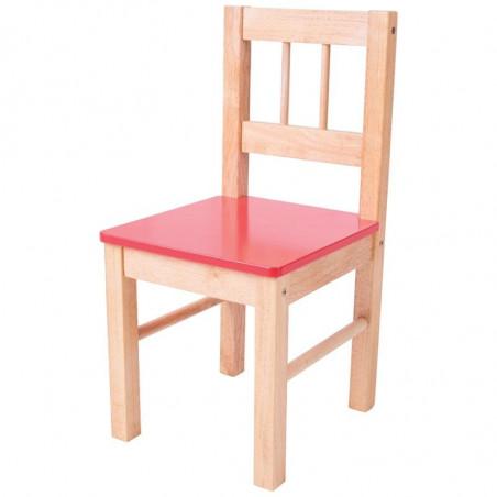 Bigjigs Toys - Dřevěná židle červená