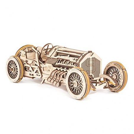 Ugears Dřevěná stavebnice 3D mechanické Puzzle Auto U-9 Grand Prix
