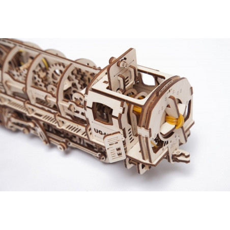 Ugears Dřevěná stavebnice 3D mechanické Puzzle Parní lokomotiva s tendrem