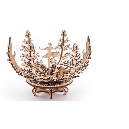 Ugears Dřevěná stavebnice 3D mechanické Puzzle Květina