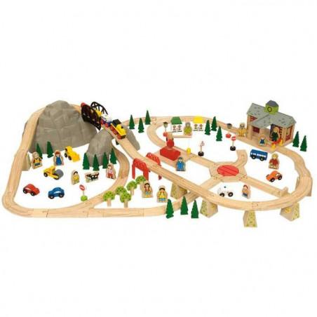 Dřevěná vláčkodráha Bigjigs - Horská cesta 112 dílů