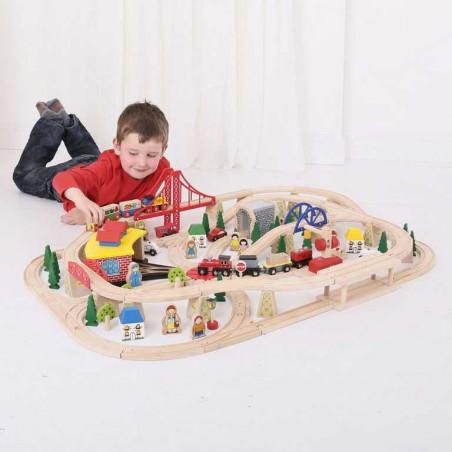 Bigjigs Rail dopravní dvouúrovňová vláčkodráha - 130 dílů