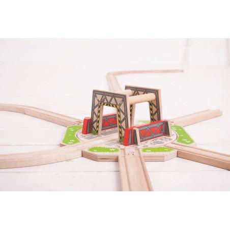 Dřevěné vláčkodráhy Bigjigs - Velká průmyslová točna