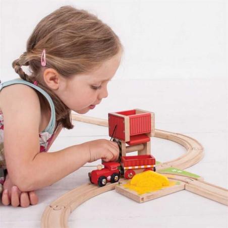 Bigjigs Rail dřevěná vláčkodráha - Věž s pískem