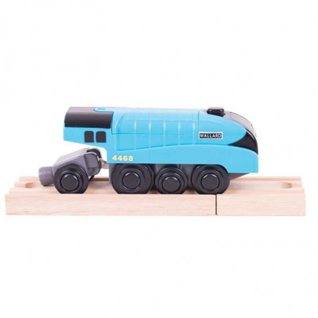 Bigjigs Rail elektrická lokomotiva modrá Mallard