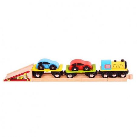 Dřevěný vláček vláčkodráhy - Nákladní vlak s auty a kolejemi
