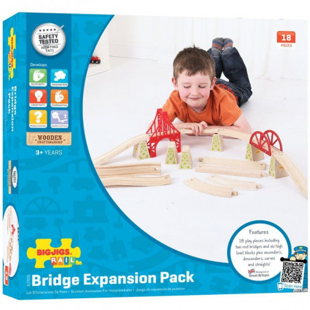 Dřevěné koleje vláčkodráhy Bigjigs - Set most 18 dílů
