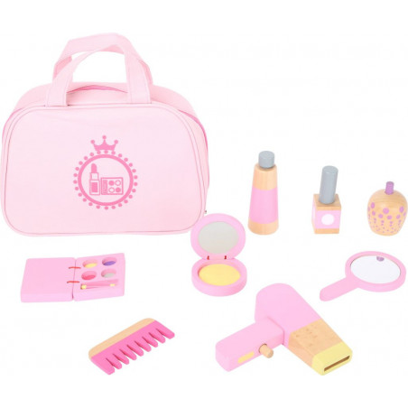 Legler Dětská kosmetická taštička růžová s dřevěnými doplňky