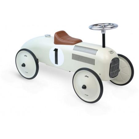 Vilac - Kovové odrážedlo - Historické závodní auto - bílé krémové