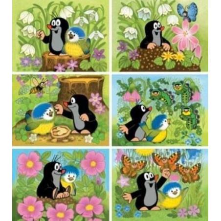 Dino Dřevěné obrázkové kostky - Kubus 12 Krtek a ptáček