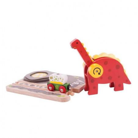 Bigjigs dřevěná vláčkodráha - Dinosauří jeřáb
