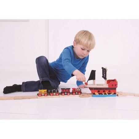 Bigjigs Rail dřevěná vláčkodráha - Pirátská galéra