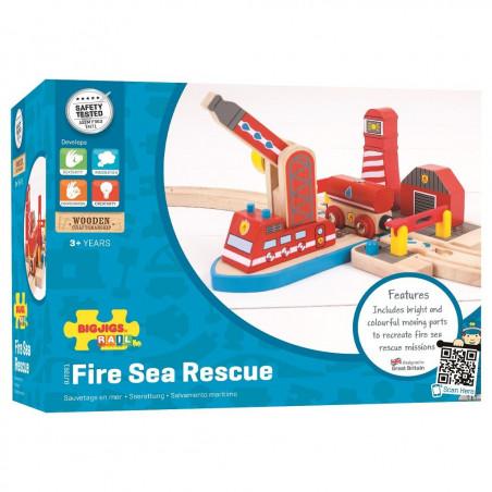 Bigjigs Rail dřevěná vláčkodráha - Hasiči mořští záchranáři