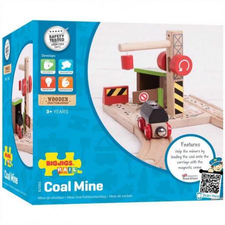 Bigjigs Dřevěné vláčkodráhy  - Uhelný důl s jeřábem