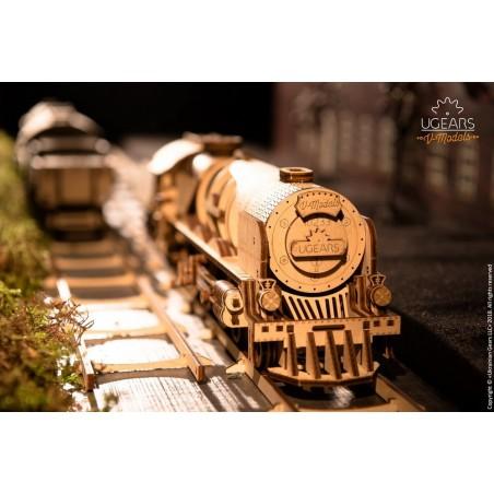 Ugears 3D mechanické puzzle Lokomotiva V-Express s vagónem 538 dílů