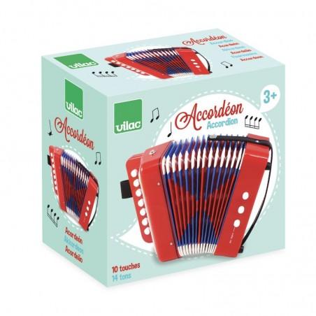 Vilac tahací harmonika akordeon červená