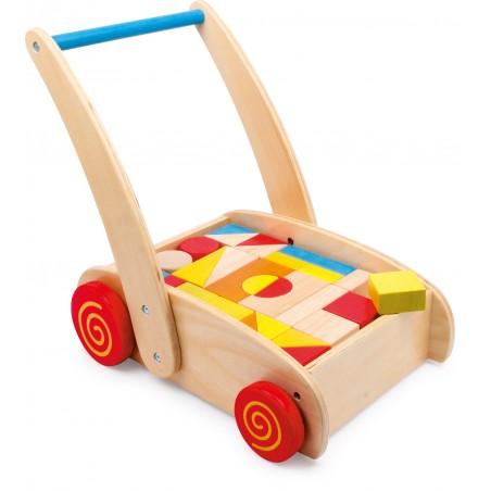 Small Foot by Legler Chodítko dřevěné kostky ve vozíku