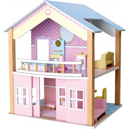 Small Foot by Legler Dřevěný domeček pro panenky Modrá střecha