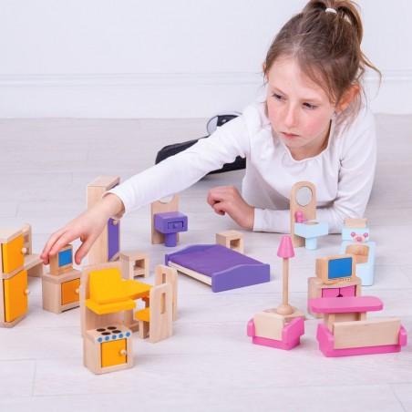 Bigjigs Dřevěný nábytek do domečku pro panenky