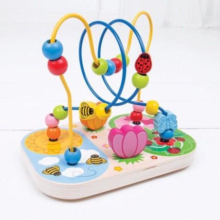 Bigjigs Baby Dřevěný motorický labyrint louka