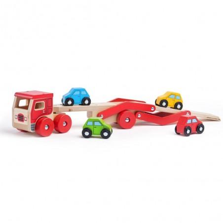 Bigjigs Toys dřevěný kamion s auty