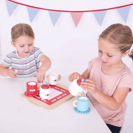 Bigjigs Toys dřevěný čajový servis s puntíky