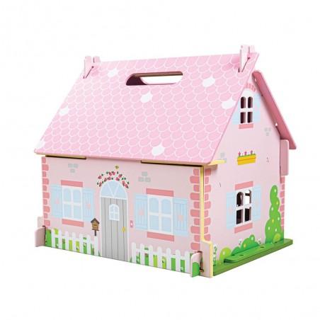 Bigjigs Přenosný růžový domeček s vybavením