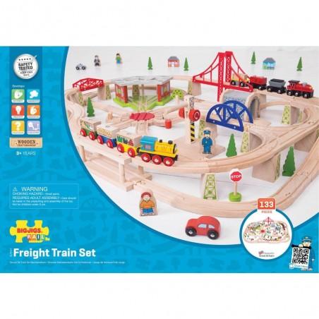 Bigjigs Rail dopravní dvouúrovňová vláčkodráha 130 dílů