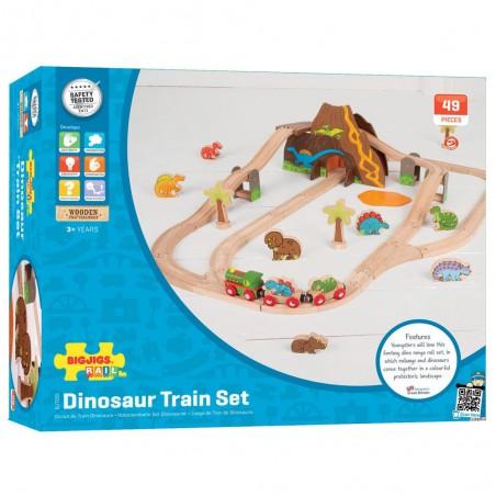 Bigjigs dřevěná dinosauří vláčkodráha