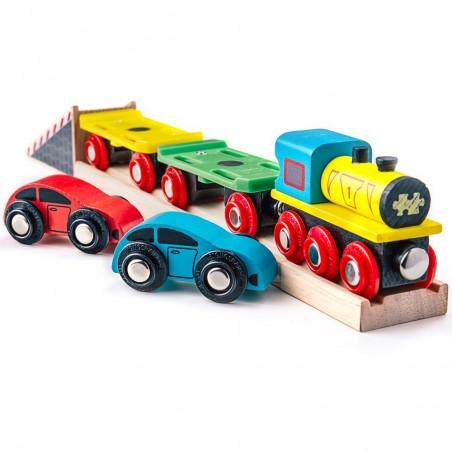 Bigjigs dřevěný nákladní vlak s auty a kolejemi