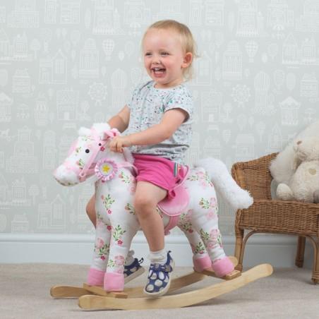 Bigjigs Toys dřevěný houpací kůň s květy