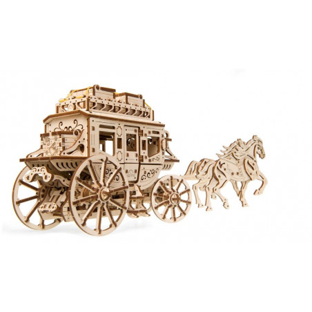 Ugears dřevěná stavebnice 3D mechanické Puzzle - Koňské spřežení s kočárem