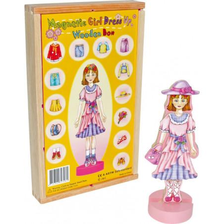 Small Foot Dřevěné hračky - Převlékací magnetická panenka Magda