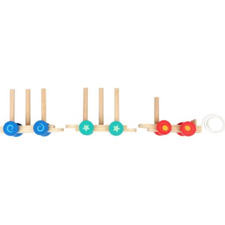 Small Foot Dřevěný vláček s barevnými kostkami