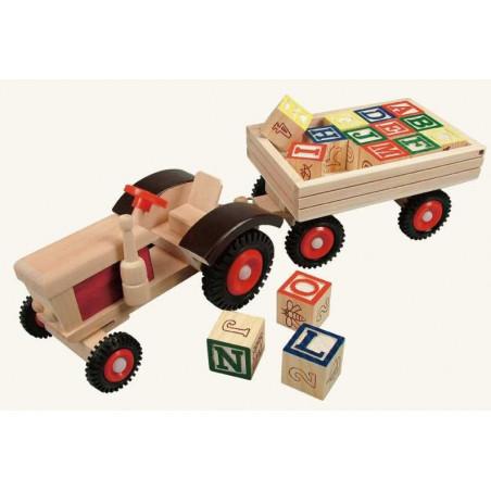Bino Dřevěné hračky - Traktor s gumovými koly a vlečkou ABC