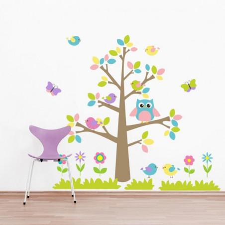 Barevný strom a zvířátka