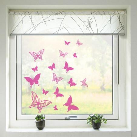 Samolepka na sklo - Motýli - růžová