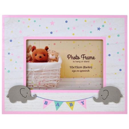 Dětský rámeček slůňata - růžový
