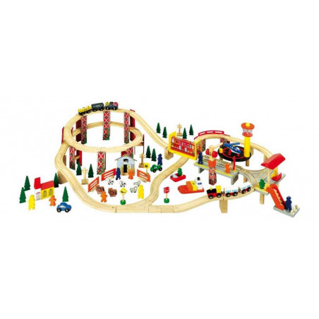 Small Foot Dřevěné hračky - Dřevěná vláčkodráha průmyslový park