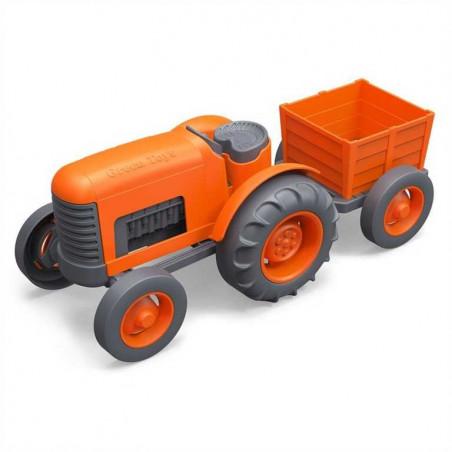 Green Toys - Traktor s vlečkou oranžový